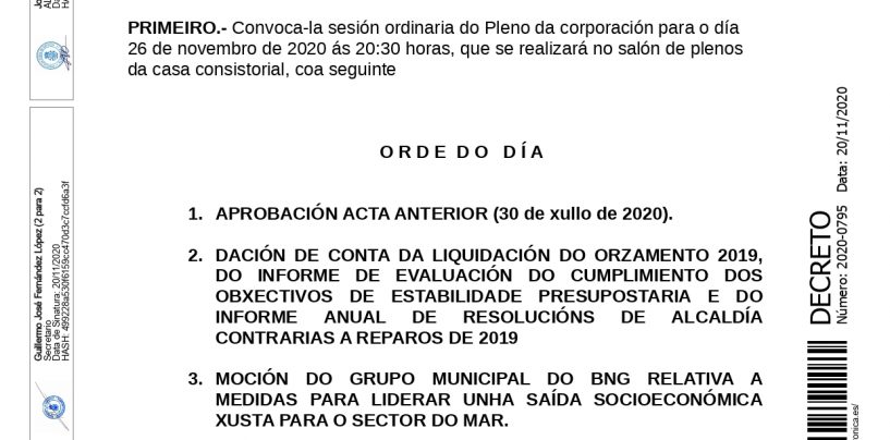 Retransmisión do pleno ordinario do 26 de novembro de 2020